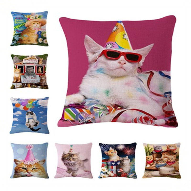 Party Cat Cushion Cover Square Pillowcase Pillow Case For Sofa Office Home Decor F