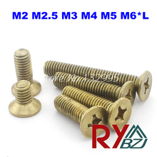 M2*8  DIN965 Brass Machine Phillips Flat Head Screw / flat head screw M2*L
