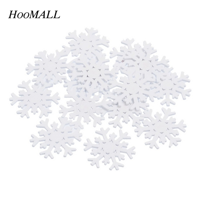 100PCs Wooden Flatback Embellishment Christmas Snowflake Scrapbooking Pendant Christmas Decorations For Home DIY 3.65x3.4cm