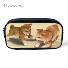 ELVISWORDS Fashion Kids Pencil Case Shiba Inu Dogs Students Stationery Box School Pen Bags Kawaii Pattern Womens Beauticians