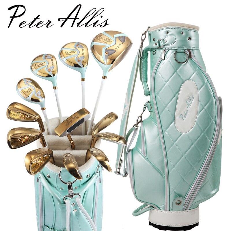 Marque Peter Allis collections. Alliage de titane pour conducteur, 12 pics femmes clubs de golf de luxe femmes golf ensemble complet carbone arbre
