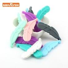 Силиконовые бусины Keep & grow перо мраморные Детские Прорезыватели для зубов пищевого класса детские игрушки для прорезывания зубов цепочка о...