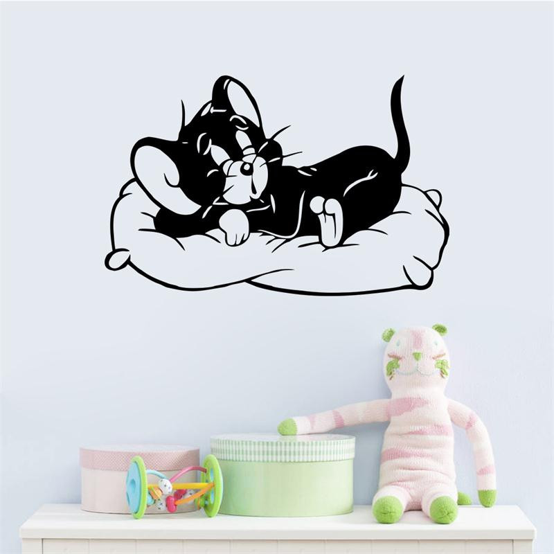 huge 89*57cm Popular Tom and Jerry funny black cat home decor wall sticker for kid room cartoon child gift removable home decal