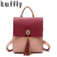 Fashion Tassel Leather Backpack Sac A Dos School Bags For Teenage Girls Mochila Escolar Feminina Patchwork