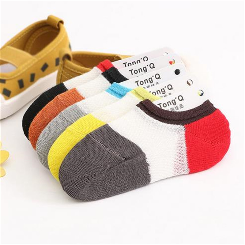 5pairs/lot Summer Children Socks Stitching Color Mesh Invisible Non - Slip Silicone Thin Socks TWS0298 soumit 5 colors professional yoga socks insoles ballet non slip five finger toe sport pilates massaging socks insole for women