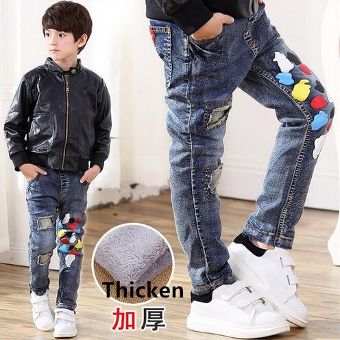 2018 boys new winter jeans jeans kids double-deck fleece fashion denim jeans boys child soft warm CASUAL colorful pants trousers