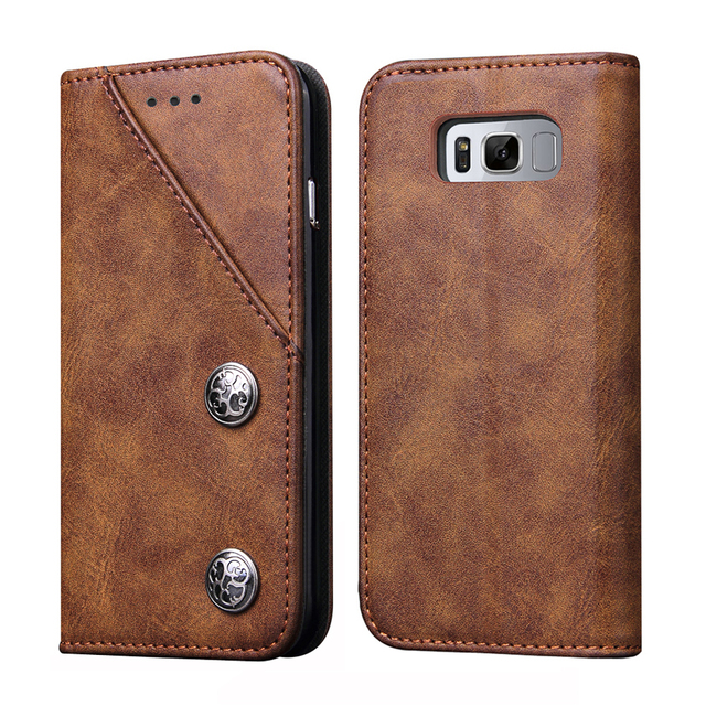 huge discount 64c3f fa606 US $7.99 20% OFF|For Samsung Galaxy S8 Case for Galaxy S8+ S8 Plus Cover  Magnetic Retro PU Leather Case TPU Back Cover Stand Mobile Phone Cases-in  ...