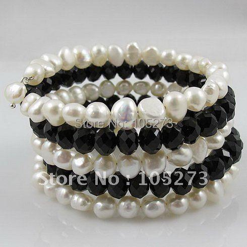 Мода жемчужный браслет АА 7-8 мм белый натуральный пресноводный жемчуг барокко форма и черными кристаллами ручной работы; комплект: 5 рядов горячая Распродажа A2592