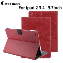 Pull up Leather Pattern Stand PU Leather case for ipad 2 3 4 New Luxury Smart