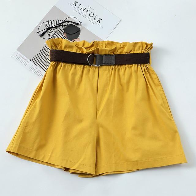 Korean Simple Solid Summer Shorts With Belt 2020 Loose High Waist Slim Loose Green Shorts Women Black Paperbag Shorts 5