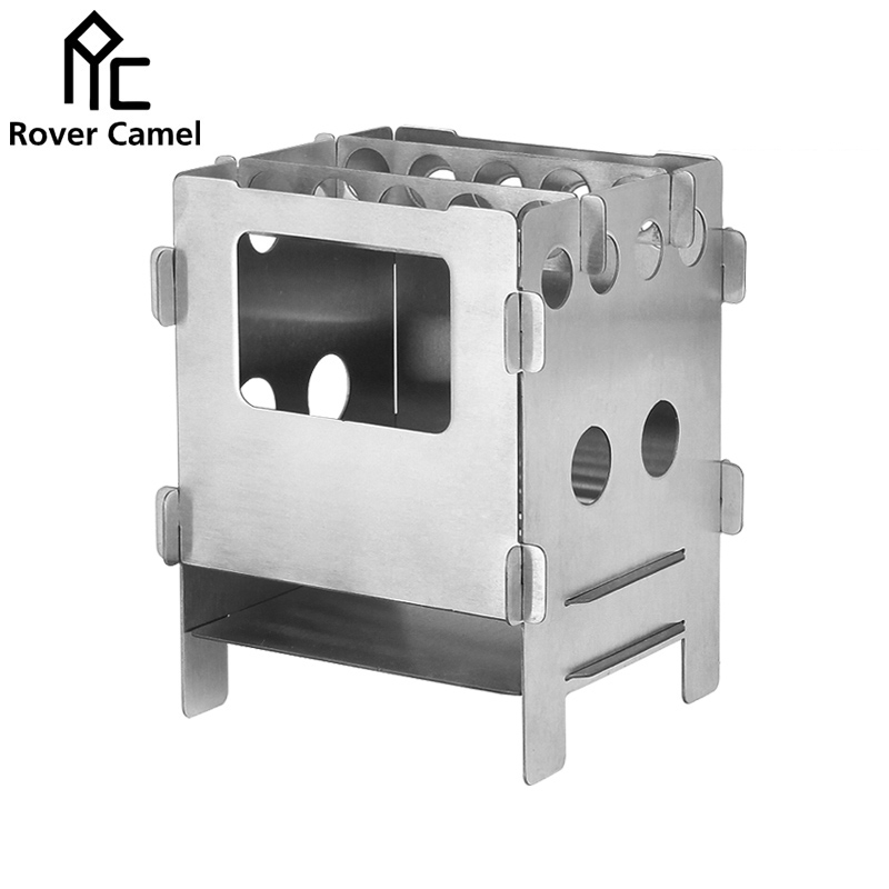 ФОТО Manufacture Best price Rover Camel Stainless Steel Folding Wood Stove Outdoor Camping Portable Mini Cooking Wood Stove WS013