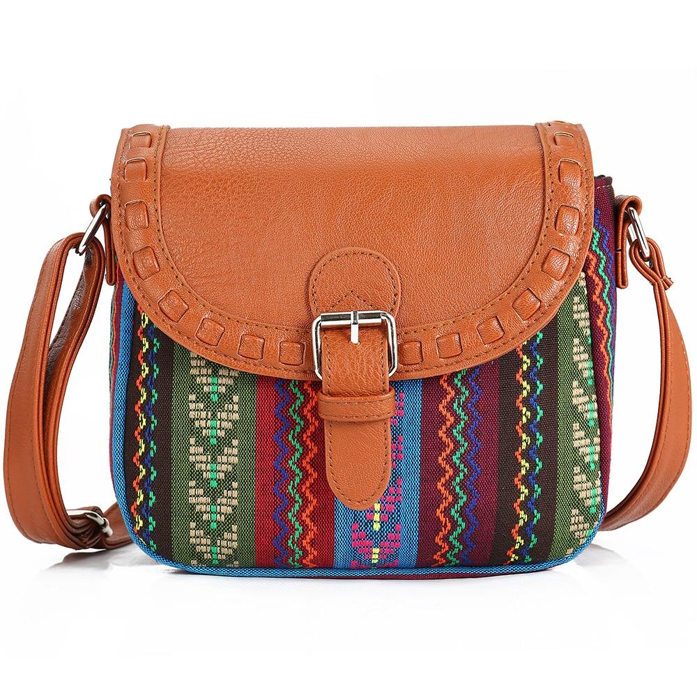 2017 Vintage Fabric Boho Aztec Tribal Female Handbag Women Crossbody Bag Ladies Shoulder Bag with PU Leather Messenger Bag lilyhood female vintage clutch gypsy bohemian boho chic hippie aztec tribal indian retro folk woven fabric pu leather clutch bag