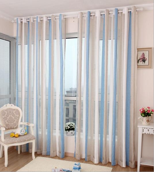 High Grade Chenille Curtains Living Room Study Gauze Nordic Vertical StripesChina