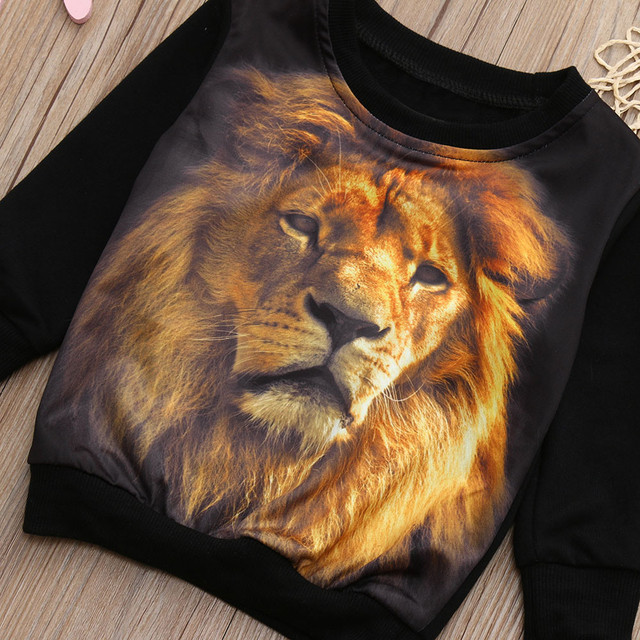 Boy's Long Sleeve Lion Printed Sweatshirt