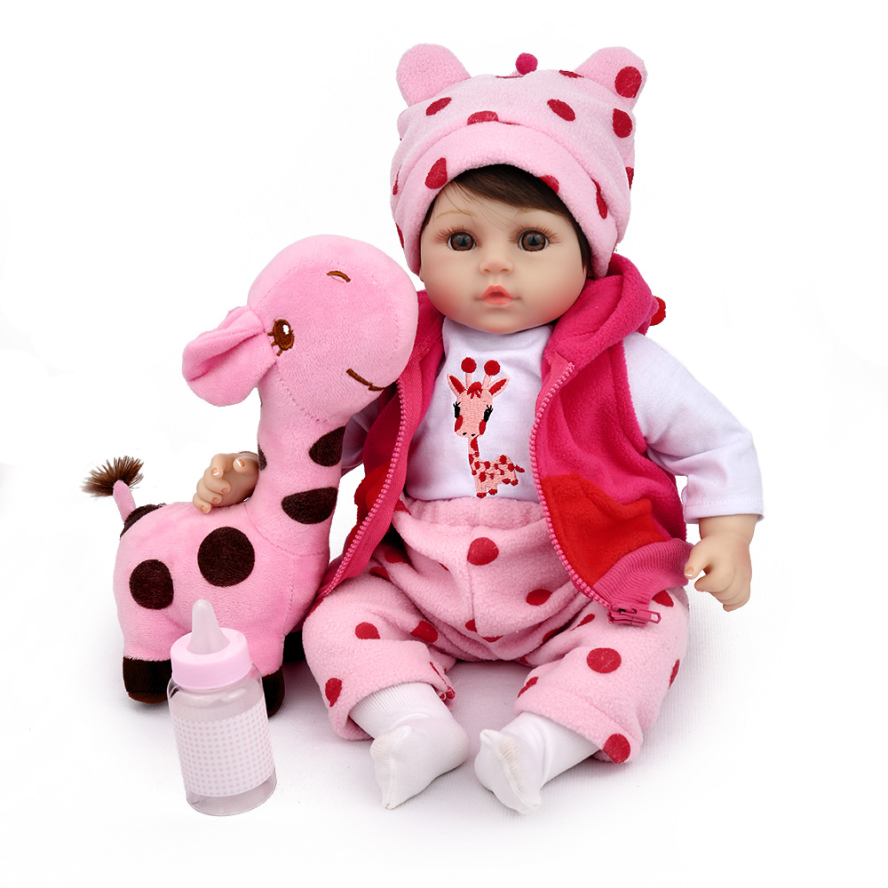 Reborn Baby Doll Soft Silicone 18 inch Pink Girls Plush Toys Kids Playmate Birthday Gift Christmas Collection Babe NPK DOLL