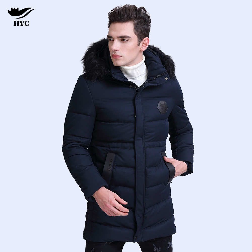 HAI YU CHENG Male Winter Jacket Men's Long Trench Coats Mens Windbreaker Military Jackets Anorak Jacket Mens Fur Collar Overcoat