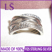 LS High Quality 100 Real 925 Sterling Silver Entwining Ring For Women DIY Fashion Rings 100
