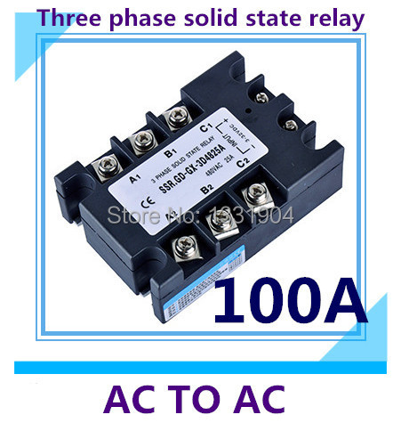free shipping Three phase solid state relay AC to AC SSR-3P-100AA 100A SSR relay input 90-280V AC output AC380V цена 2017