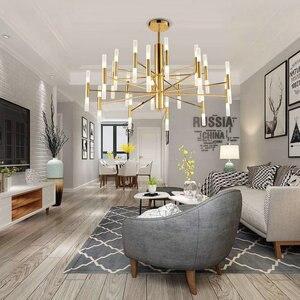 Image 3 - Современная модная дизайнерская Потолочная люстра черного и золотого цвета, Подвесная лампа в стиле арт деко светильник кухни, гостиной, лофта, спальни