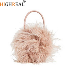 Winter Fur Lady Top-handle Handbags Lady Luxury Purses Clutch Round Plush Feather Evening Party Bags Small Brand Purses Chic Bag