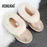 UBZ Free Shipping Top Quality Women S Genuine Sheepskin Leather Snow Boots 100 Natural Fur