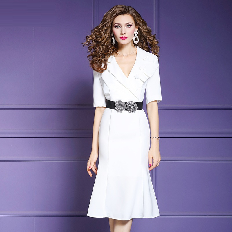 Office Lady dress Spring 2019 new Women sexy Business affairs Party Dress Plus Size Vintage OL