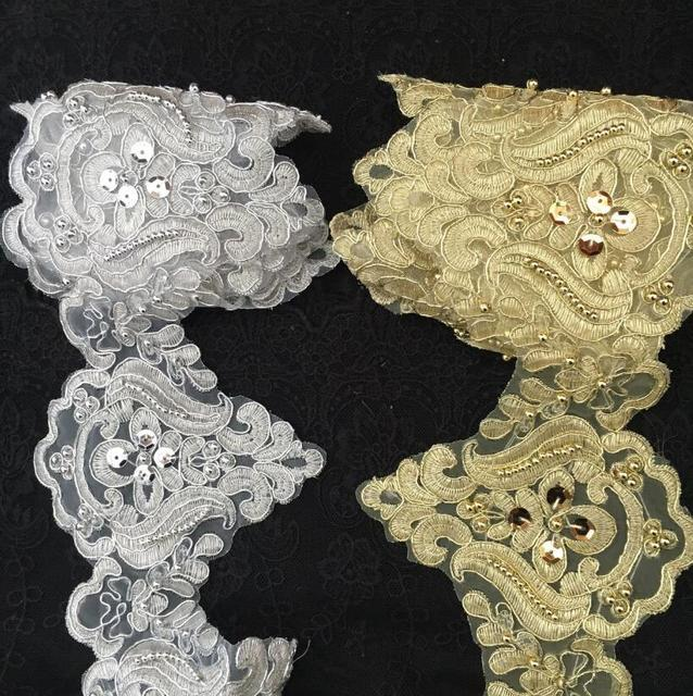 1 Yard Handmade Patchwork Material Silver Gold Embroidered Lace Fabric DIY  Sewing Sequin Beading Lace Trim