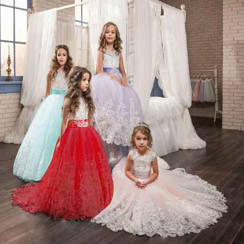 Kids Dresses For Girls Elegant Princess Wedding Lace Long Girl