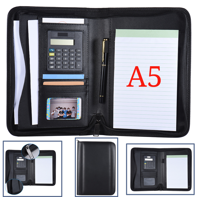 4931e3f969 US $18.99 |Portable Business Portfolio Padfolio Folder Document Case  Organizer A5 PU Leather Zippered Closure Calculator Card Holder Memo-in  Padfolio ...