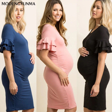Maternity Dress New summer Pregnant Women Off-shoulder Dress Ruffled Casual Maternity Dress Mother Maternity Clothes