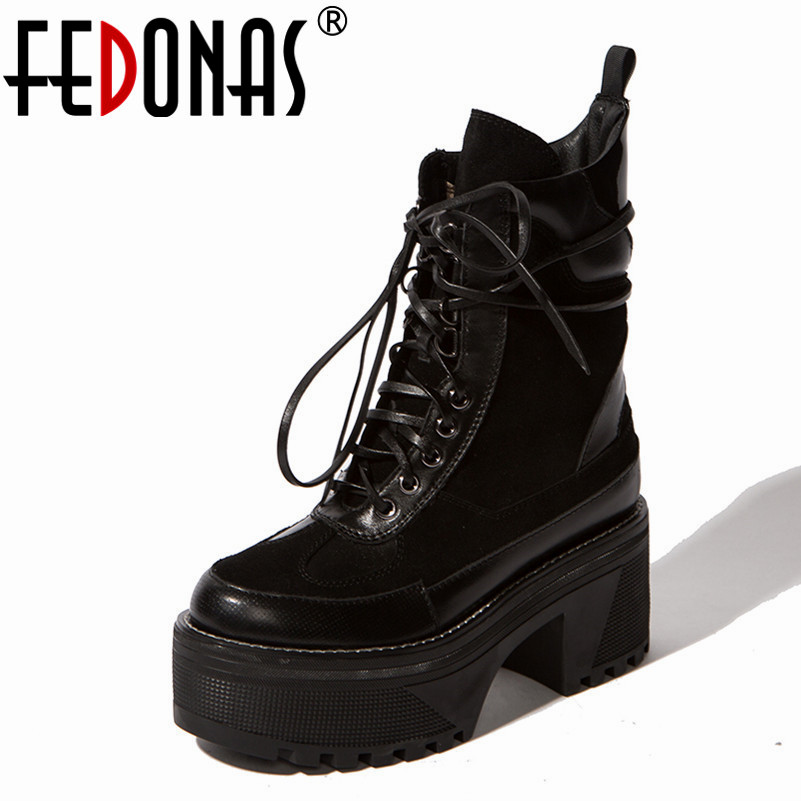 FEDONAS 2019 Punk Black Women Ankle Boots Thick High Heels Martin Shoes Woman Platfroms Casual Shoes Fashion Motorcycle Boots