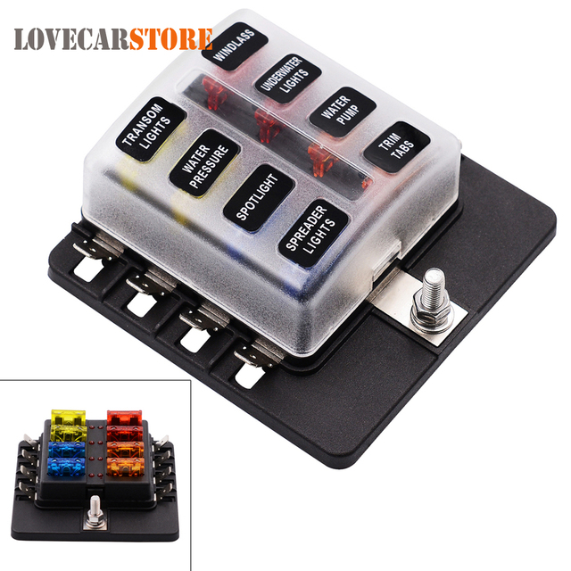 Max 32V Plastic Cover 8 Way Blade Fuse Box Holder M5 stud with LED Indicator for_640x640 online shop max 32v plastic cover 8 way blade fuse box holder m5 rv plastic fuse box cover at bayanpartner.co