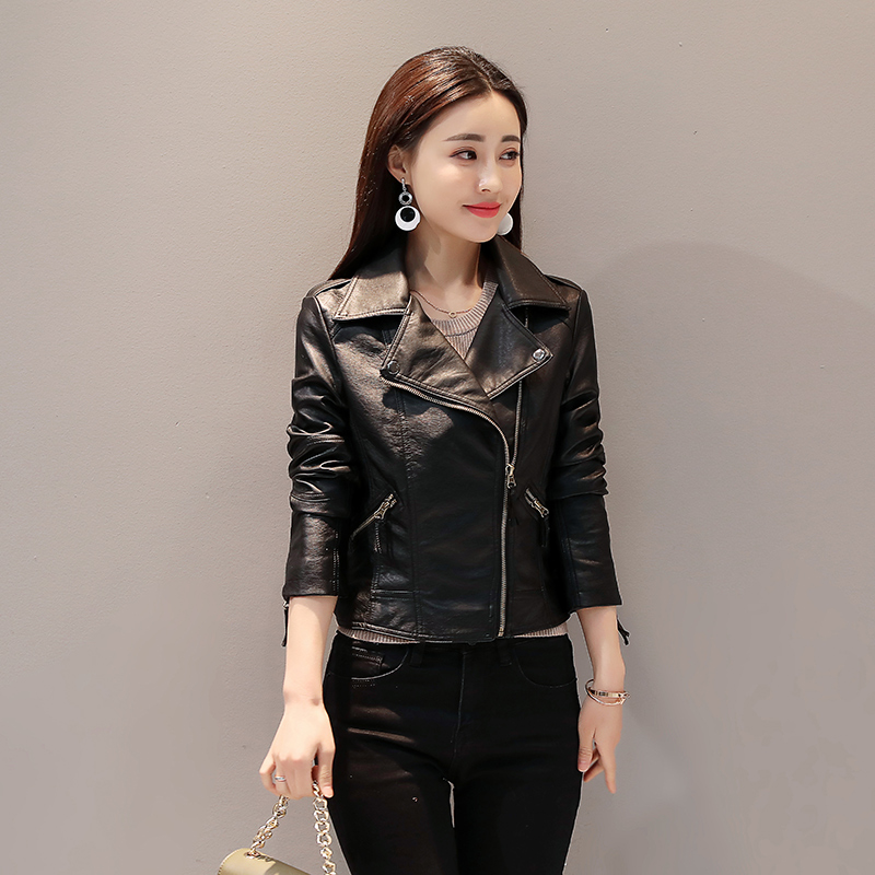 Motorcycle   Leather   Jacket Women Black Slim Fashion Short Outerwear   Leather   Coat Young Girls Brand Clothing Size XS-XXL   Suede