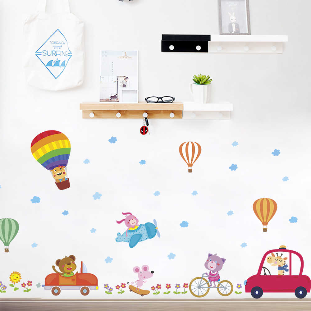Cartoon Car Air balloon Wall Stickers Kids Study Sticker Children Rooms Decoration Transportation DIY Decals art Posters
