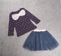 Korean Version Spring And Autumn Girl Stars Top Bow Gauze Skirt Two Piece Children Set Sets