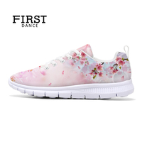 Women Flats Floral Pattern Shoes Girls Leisure Shoes Customized 3D Prints Lace Up Women Casual Flats