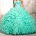Venda quente Vestidos Quinceanera 2016 Organza vestido de Baile Querida Cristal doce 16 vestido doce 15 vestidos vestidos de 15 ST001QU