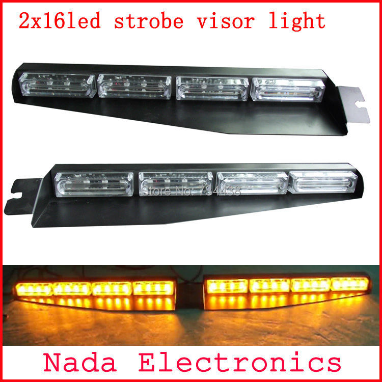 2x16led Police strobe lights car visor light dash board windshield led flash lights car warning lamp GREEN RED BLUE WHITE AMBER s2 shovels ray bead 96w led flashing police strobe intimidator windshield dash light