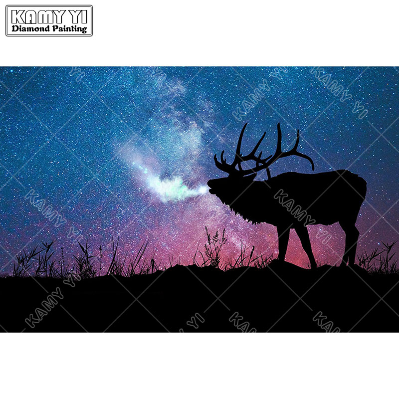 5D DIY Full square Diamond Painting Mosaic Cattle Under the stars Diamond Rhinestone Embroidery Cross Stitch home decor gift