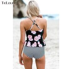 High Waist Plus Size Push Up Print Ruffle Beach Wear
