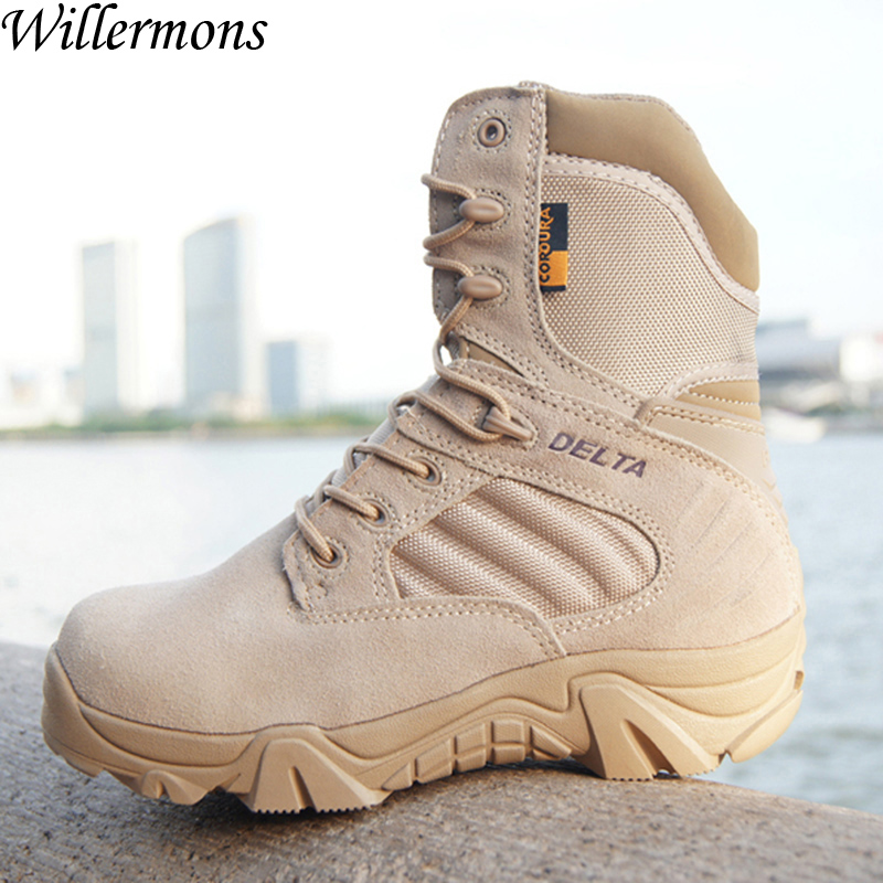 Men's Outdoor Desert Military Combat Hiking Boots Shoes Men Army Tactical Camping Sports Shoes Trekking Boots 2017 new military men s outdoor breathable hiking tactical boots men army combat trekking climbing shoes mountaineering boots