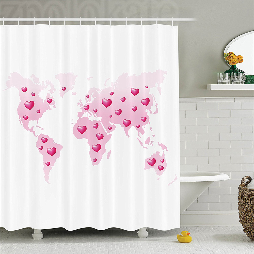 Teen Girls Decor Shower Curtain Set Global Peace Theme World Map Which Is Dotted With Hearts Love Planet Earth Bathroom Accessor