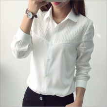Fan small fresh new spring Korean long-sleeved shirt solid color shirt Slim white shirt female literary POLO shirt