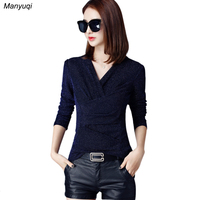 Autumn Bright Female T Shirt Long Sleeve V Neck Tops Clothes Fashion Casual Slim Lace T