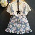 Juegos de la Ropa Del verano Muchachas Del Niño T-shirt + Skirt 2 unids chica conjunto Estampado de Flores de Algodón de Los Cabritos Trajes de Los Niños ropa 0-7Year BC1332