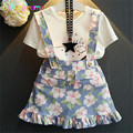 Summer Toddler Girls Clothing suits T-shirt+Skirt 2pcs girl set Flower Print Cotton Kids Outfits Children Clothes 0-7Year BC1332