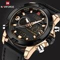 Naviforce deporte ejército militar relojes hombres marca de lujo de cuero relojes del cuarzo de los hombres led digital reloj relogio masculino 2017
