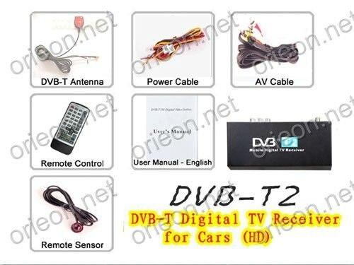 Free shipping 1pc/lot New Car HD DVB-T Digital TV Box for auto DVB-T2 receiving (DVBT2)