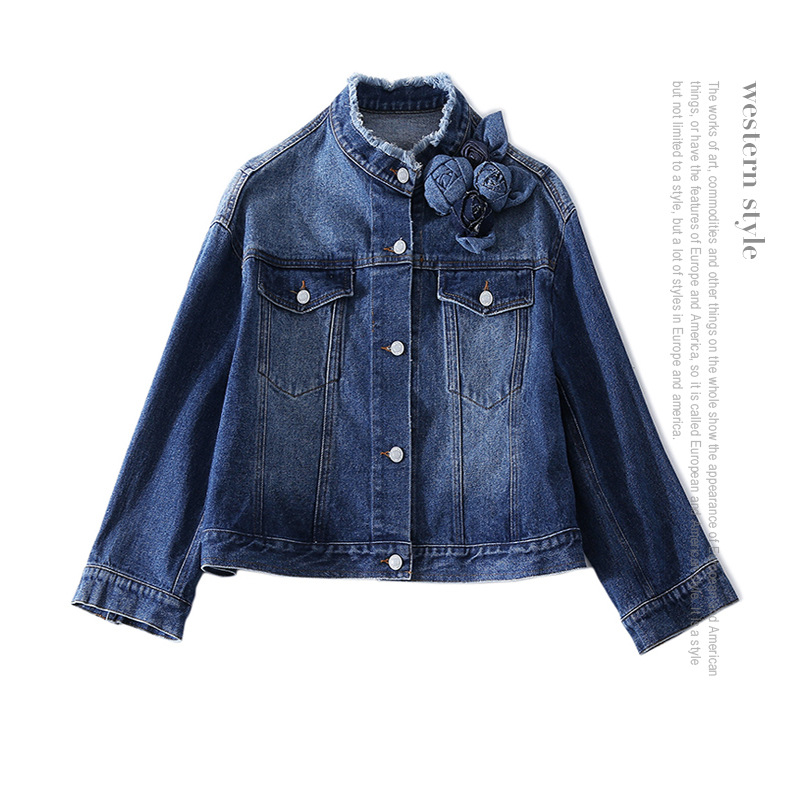 100% Cotton long sleeve single breasted denim jackets 2018 new runway high quality office lady women spring summer coats
