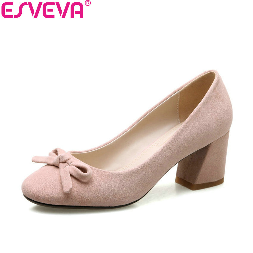ESVEVA 2018 Women Pumps Med Heels Kid Suede PU Sweet Style Square Heels Slip on Square Toe Elegant Ladies Pumps Shoes Size 34-39 2017 shoes women med heels tassel slip on women pumps solid round toe high quality loafers preppy style lady casual shoes 17